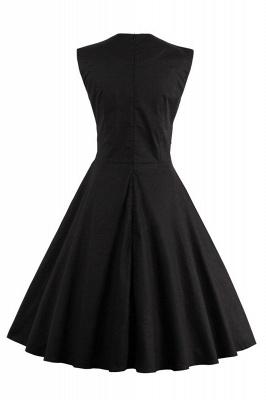 Amazing Polk-Dot Scoop Sleeveless A-line Pleats Fashion Dresses | Knee-Length Women's Dresses_6