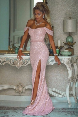 Sexy Off-the-Shoulder Front-Slit Sparkly Beading Long Evening Dress_1