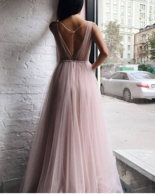 Tulle V-Neck Beading Long Evening Dress_3
