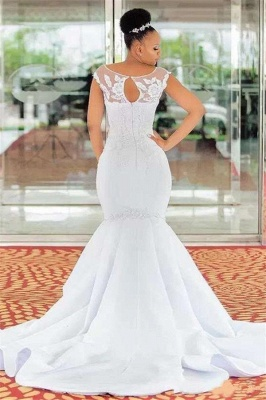 Timeless Mermaid Jewel Lace Appliques Wedding Dresses_2