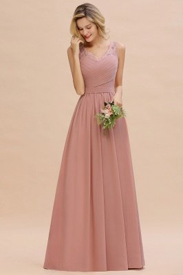 Simple V-neck Sleeveless Long Prom Dresses with soft Pleats_12