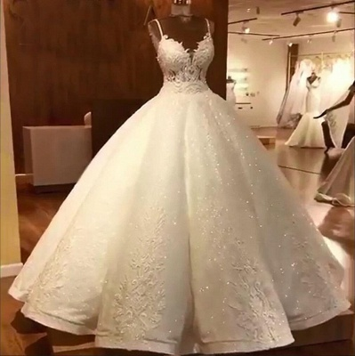 Stunning Ball Gown Wedding Dresses | Spaghetti Straps Lace Bridal Gown_5