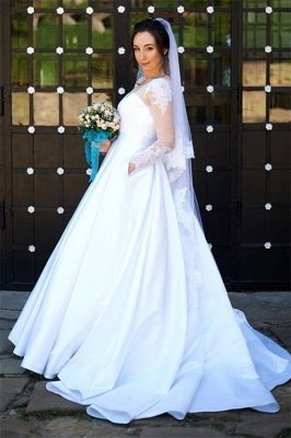 Chic Tulle Jewel Long-Sleeves Applqiues Wedding Dress with Pockets_1