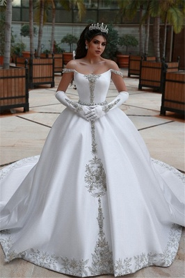 Stunning Ball Gown Off-the-Shoulder Appliques Wedding Dress_1