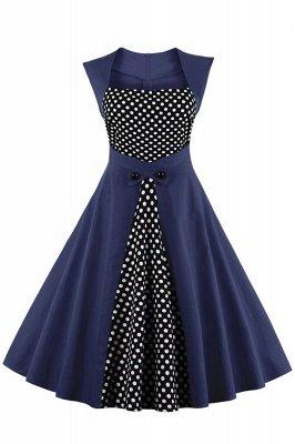 Amazing Polk-Dot Scoop Sleeveless A-line Pleats Fashion Dresses | Knee-Length Women's Dresses_3