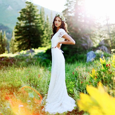 Timeless  Short-Sleeves Sheath Lace Appliques Wedding Dress_2
