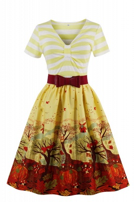 Excellent V-neck Stripes A-line Short-Sleeves Fashion Dresses | Bow Belted Women's dresses