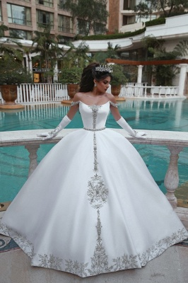 Stunning Ball Gown Off-the-Shoulder Appliques Wedding Dress_6