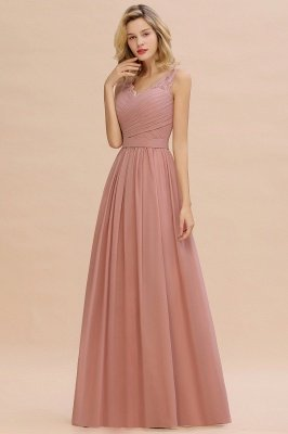 Simple V-neck Sleeveless Long Prom Dresses with soft Pleats_10