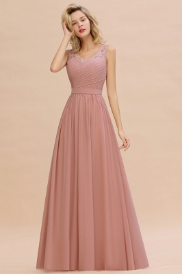 Simple V-neck Sleeveless Long Prom Dresses with soft Pleats_8