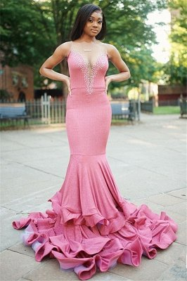 Sexy Mermaid Sleeveless Beading Long Prom Dress