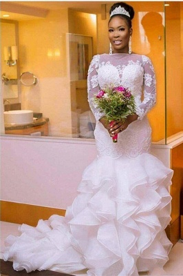 Glamorous Jewel Long-Sleeves Tulle Lace Wedding Dress with Court Train_1