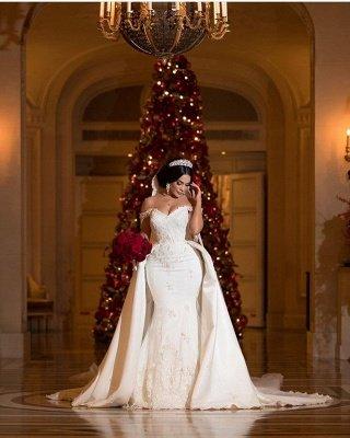 Off-the-Shoulder lace Appliques Wedding Dress with Detachable Train_4