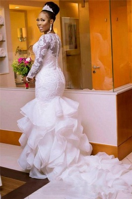 Glamorous Jewel Long-Sleeves Tulle Lace Wedding Dress with Court Train_2