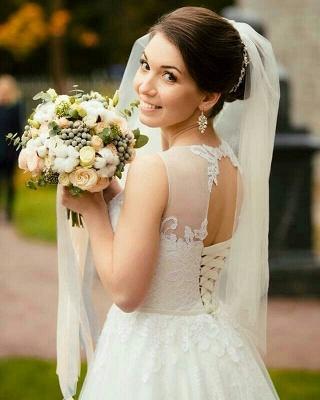 Stunning Jewel Sleeveless Tulle Lace Wedding Dress_2