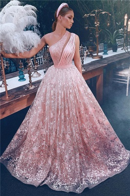 Fantancy One-Shoulder Appliques Beading Evening Dress