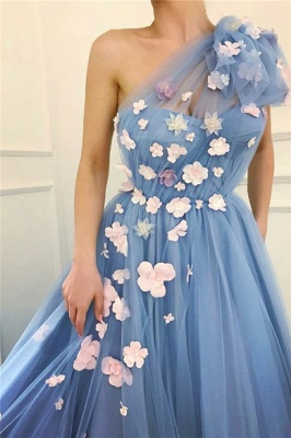 Chic Tulle One-Shoulder Flowers Long Evening Dress