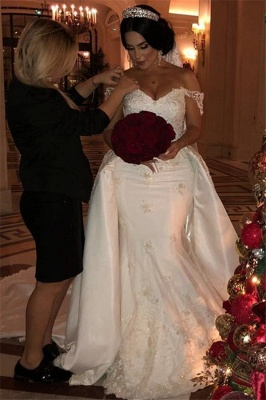 Off-the-Shoulder lace Appliques Wedding Dress with Detachable Train_3