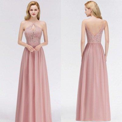 Halter Floor-Length Keyhole Lace Chiffon Long Bridesmaid Dress_2