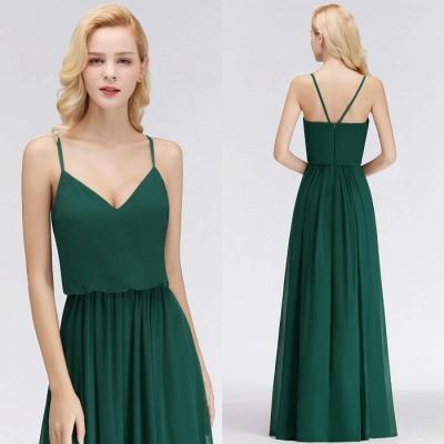 Dark-Green Chiffon A-Line Elegant Spaghetti-Straps Bridesmaid Dress_1