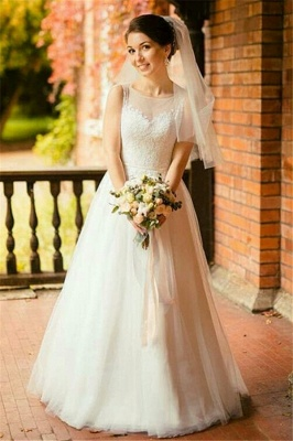 Stunning Jewel Sleeveless Tulle Lace Wedding Dress_1