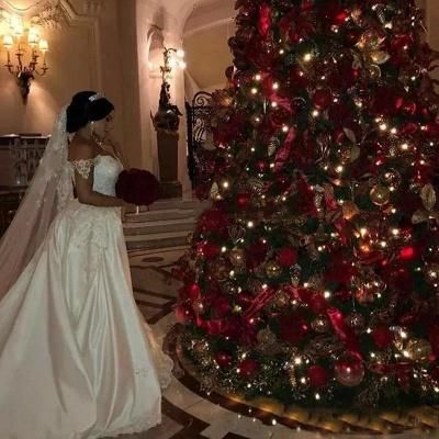 Off-the-Shoulder lace Appliques Wedding Dress with Detachable Train_5
