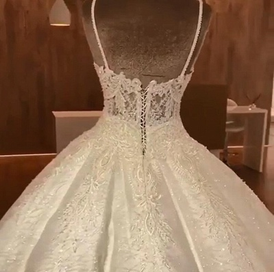 Stunning Ball Gown Wedding Dresses | Spaghetti Straps Lace Bridal Gown_3