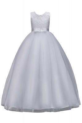 Elegant Jewel Lace Flowergirl Dresses | Bow Sleeveless Children Dresses