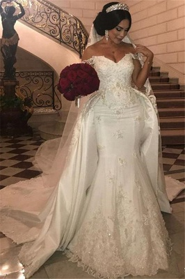 Off-the-Shoulder lace Appliques Wedding Dress with Detachable Train_1