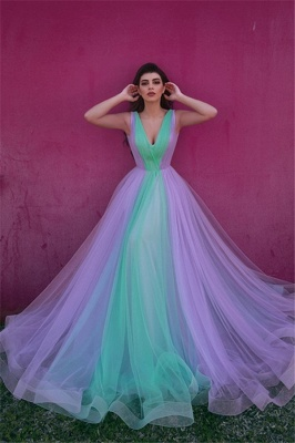 Stylish Tulle V-Neck Straps Evening Dress