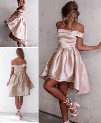 Glossy A-line Light Champagne Homecoming Dresses | Off-the-Shoulder Hi-Lo Graduation Dresses_3