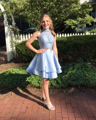 Cute Two Pieces Homecoming Dresses | A-Line Halter Neck Hoco Dresses_3