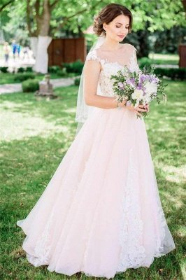 Timeless Tulle  Sleeveless Lace Appliques Wedding Dress_1