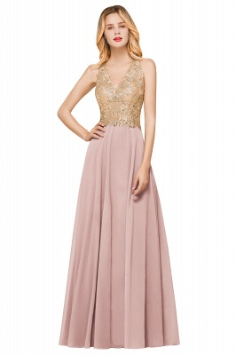 Cheap Chiffon Appliques Long Prom Dress | Affordable Floor Length A-line Evening Dresses_1