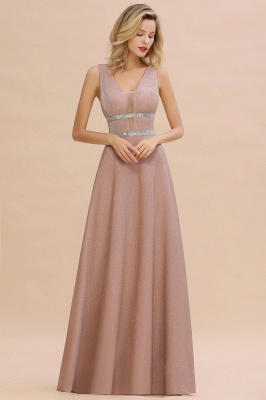Gorgeous Sleeveless V-back Pink Deep V-neck Long Evening Dresses_6