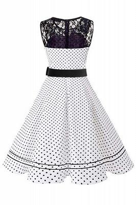 Brilliant Jewel A-line Bow Sleeveless Fashion Belted Dresses | Polk-Dot Knee-Length Women's Dress_5