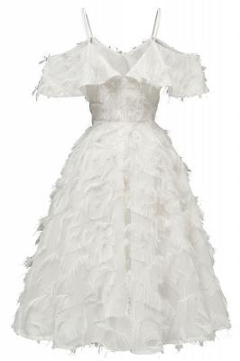 Stylish Spaghetti Straps Artifical Feather Princess Vintage Short Dresses_15