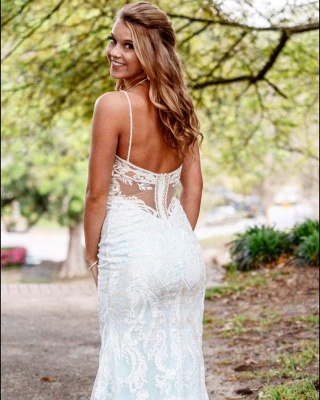 Stilysh Spaghetti Straps V-Neck Wedding Dress | Cheap Column Long Bridal Dress_2