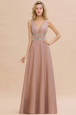 Gorgeous Sleeveless V-back Pink Deep V-neck Long Evening Dresses_3