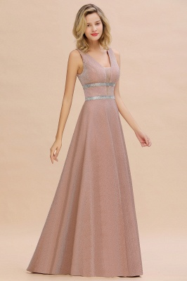 Gorgeous Sleeveless V-back Pink Deep V-neck Long Evening Dresses_8