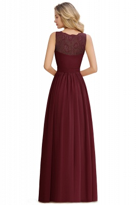 Cheap A-line Chiffon Lace V-Neck Ruffles Bridesmaid Dress in Stock_20