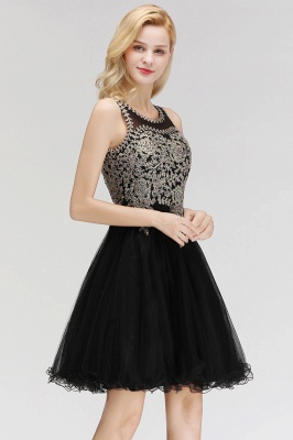 Cute Crew Neck Open Back Beaded Lace Appliques Homecoming Dresses_10