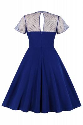 Elegant Round Neck Lace Short Sleeves Fashion Beer Dresses | A-Line Knee-Length Women's Dress_11