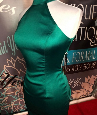 Simple Dark Green High Neck Homecoming Dress | Bodycon Sleeveless Short Mini Cocktail Dress_2