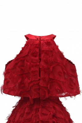High neck Gorgeous Crew Neck Artificial Feather Dress Burgundy Short Dresses_15