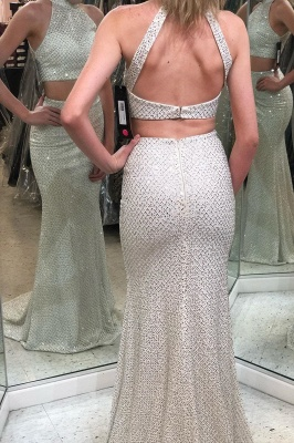 Sexy Two Pieces Halter Prom Dress | Sparkly Sequins Sleeveless Long Prom Dresses_1