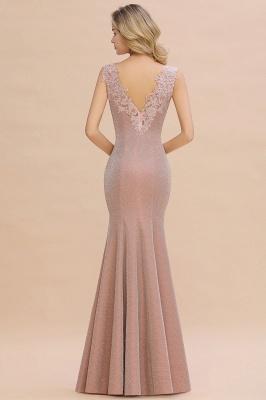 Glittery Deep V-neck Sleeveless Pink Floor-length Long Evening Dresses_15
