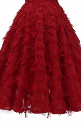 Stylish Spaghetti Straps Artifical Feather Princess Vintage Short Dresses_14