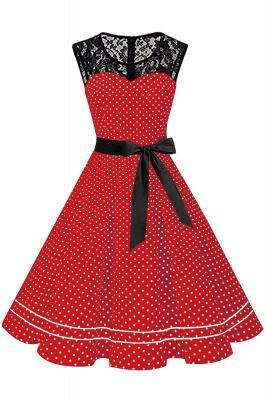 Brilliant Jewel A-line Bow Sleeveless Fashion Belted Dresses | Polk-Dot Knee-Length Women's Dress_2