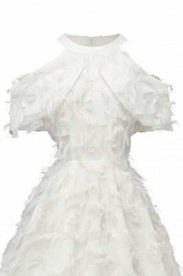 Gorgeous A-line High neck Artifical Feather Vintage Short Dresses_19